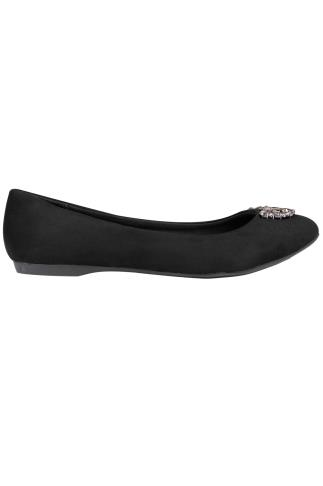 Black Suedette Ballerina Pumps With Jewel Detail In E Fit 102452