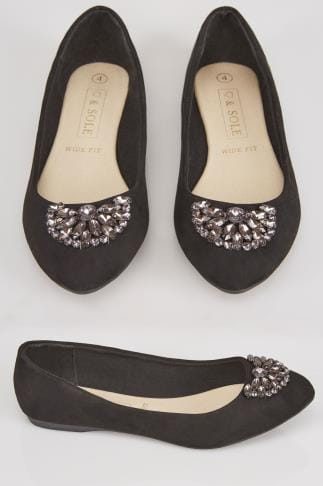 Wide Fit Flat Shoes Black Suedette Ballerina Pumps With Jewel Detail In E Fit 102452