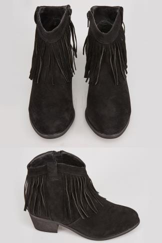 Black Suedette Fringed Tassel Boot In E Fit