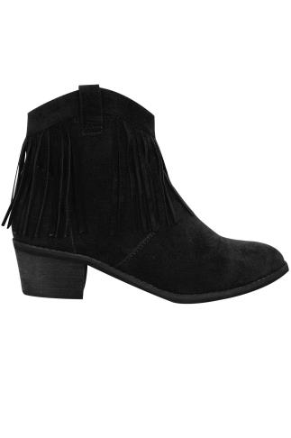 Black Suedette Fringed Tassel Boot In E Fit 102177