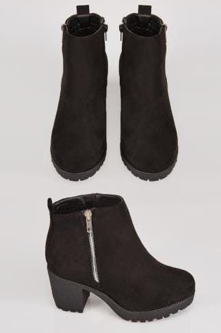 Wide Fit Ankle Boots Black Suedette Heeled Ankle Boot With Side Zip In E Fit 101383
