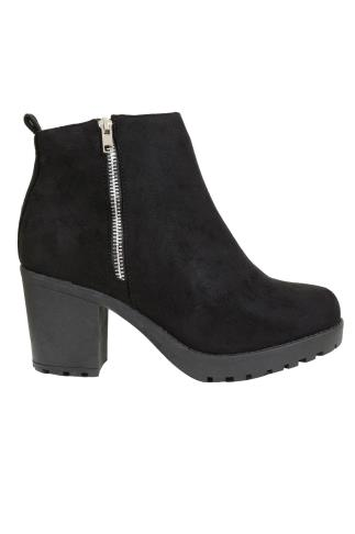 Black Suedette Heeled Ankle Boot With Side Zip In E Fit