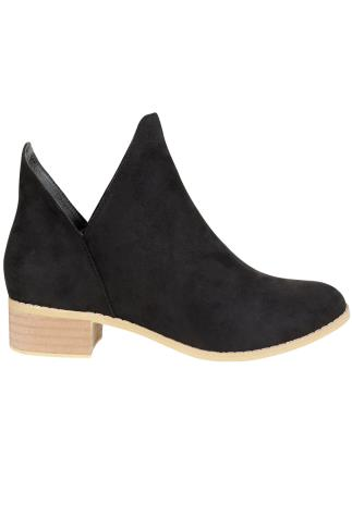 Black Suedette Low Heeled Ankle Boots With Cut Out In E Fit