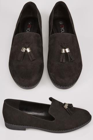Wide Fit Flat Shoes Black Suedette Slip On Loafers With Comfort Insole In TRUE EEE Fit 154062