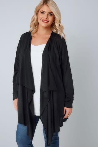 Cardigans Black Super Fine Knit Edge To Edge Waterfall Cardigan 124099