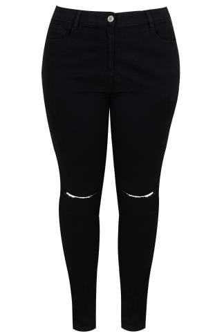 Black Super Stretch Skinny Jeans With Ripped Knees