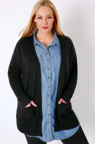 Black Supersoft Edge to Edge Knitted Cardigan With Rib Sleeve Detail