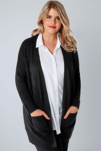 Cardigans Black Supersoft Edge to Edge Knitted Cardigan With Rib Sleeve Detail 100729