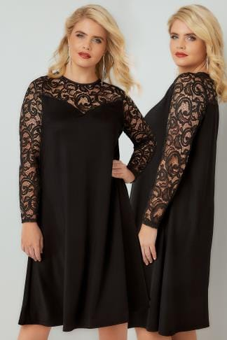 Black Dresses Black Swing Dress With Lace Yoke & Sleeves 136172