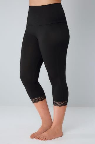Cropped & Short Black TUMMY CONTROL Cropped Leggings With Lace Trim 038390