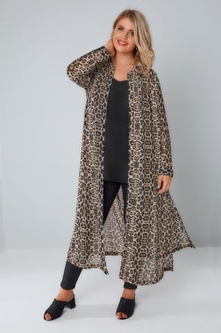 Shirts Black & Tan Leopard Print Maxi Shirt With Side Splits 156142