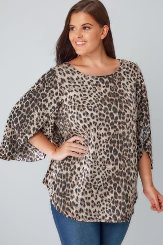 Black & Tan Leopard Print Oversize Jersey Top With Floaty Sleeves 170152