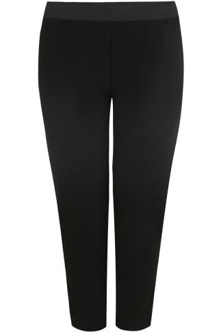 Black Textured Jersey Harem Trousers With Elasticated Waist