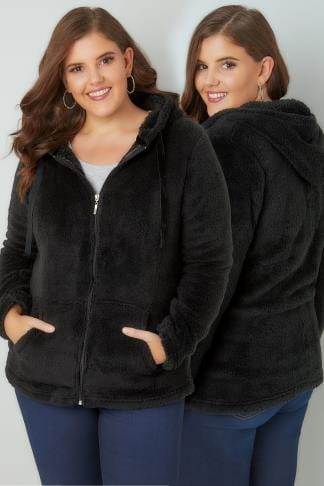 Polaires Black Textured Zip Through Fleece 126044