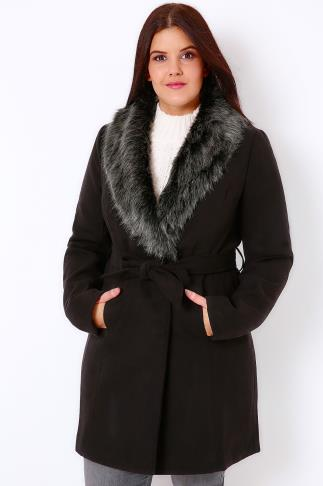 Black Tie Waist Coat With Faux Fur Collar