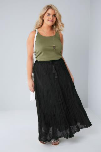 Black Tiered Crinkle Maxi Skirt 160004
