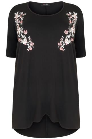 Black Top With Mirror Floral Pattern & Extreme Dipped Hem