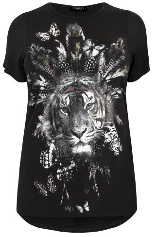 Black Tribal Tiger Print T-Shirt With Dipped Hem