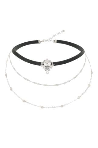 Necklaces Black Triple Layered Choker Necklace With Diamante Placement 152194