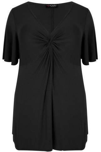 Black Twist Front Top With Angel Sleeves