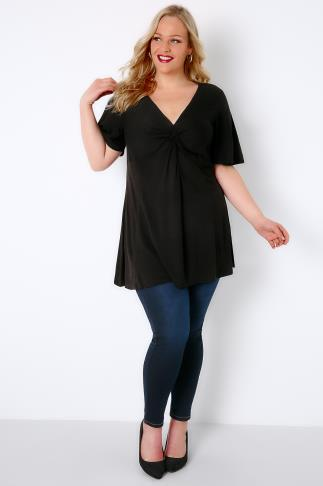 Black Twist Front Top With Angel Sleeves 156104