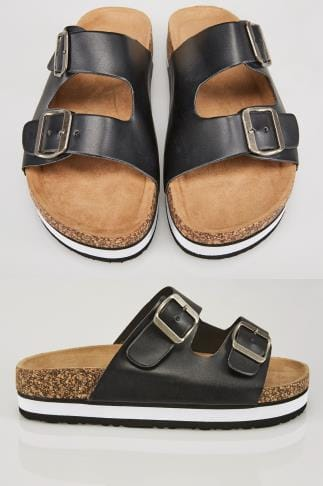 Black Two Strap Cork Effect Platform Sandals In A EEE Fit