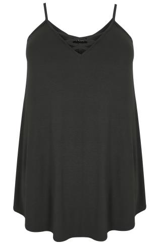 Black V-Neck Longline Cami Vest Top With Cross Front Detail