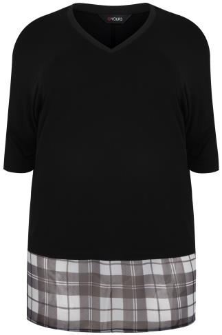 Black V-neck Top With Black & White Check Print Panel