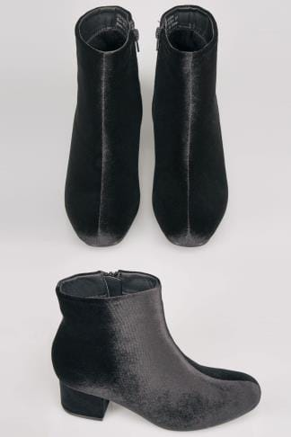 Black Velvet Boots With Block Heel