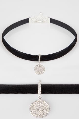Necklaces Black Velvet Choker With Silver Tone Charm 152383