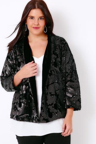 Black Velvet & Sequin Embellished Fully Lined Jacket 101862