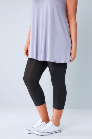Cropped & Short Leggings Black Viscose Elastane Cropped Leggings 057440