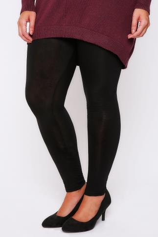 Black Viscose Elastane Full Length Leggings