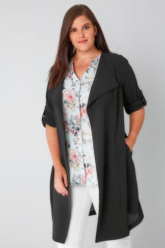 Jackets Black Waterfall Duster Jacket 134074