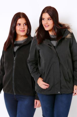 Coats Black Waterproof 3 in 1 Jacket With Faux Fur Tipped Trim Hood 101497