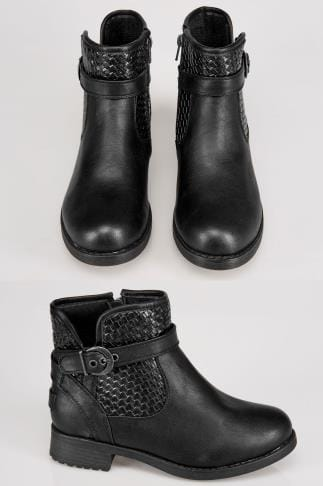 Black Whipstitch Ankle Boot In EEE Fit