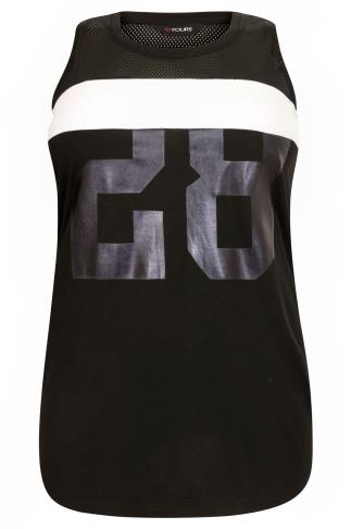 "Black & White ""28"" Printed Vest Top With Mesh Insert"