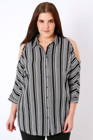 Black & White Alternate Stripe Print Cold Shoulder Shirt