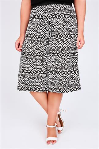 Black & White Aztec Print Cropped Culottes