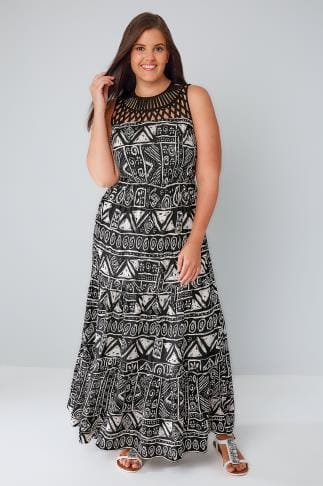 Swing & Shift Dresses Black & White Aztec Print Maxi Dress With Cut Out Yoke 136036