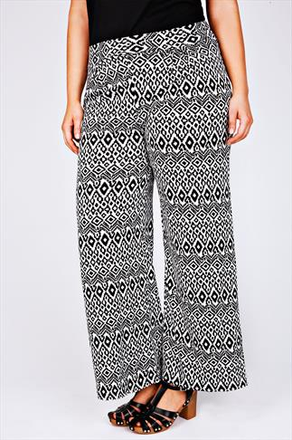 Black & White Aztec Print Wide Leg Trousers