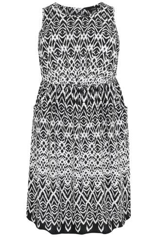 Black & White Aztec Pocket Dress With Elasticated Waistband
