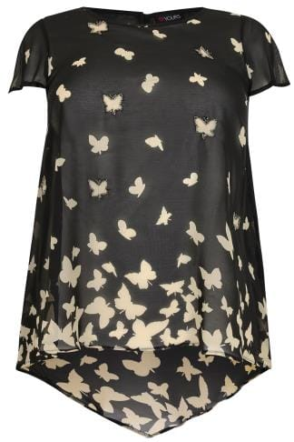 Dipped Hem Tops Black & White Beaded Butterfly Print Swing Top With Dipped Hem 170330