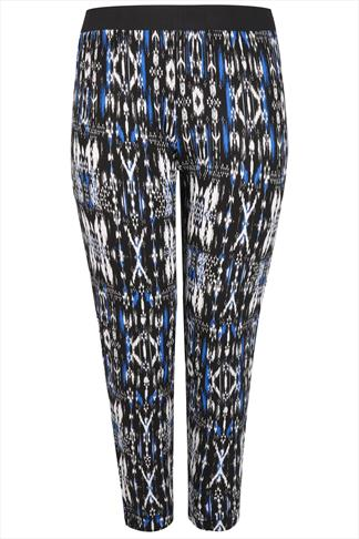 Black, White & Blue Aztec Print Jersey Harem Trousers