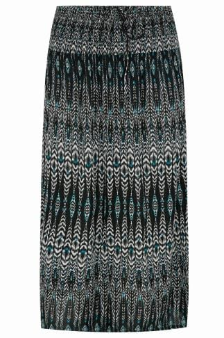 Black, White & Blue Aztec Print Maxi Skirt With Ruched Waistline 160016
