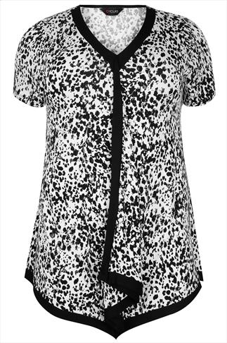 Black & White Border Animal Print Top With Tie Back