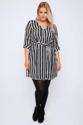 Black & White Brush Stripe Zip Front Dress With Waist Tie