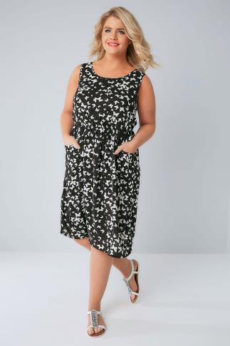 Skater Dresses Black & White Butterfly Pocket Dress With Elasticated Waistband 136044