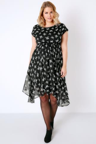 Midi Dresses Black & White Butterfly Print Floaty Midi Dress With Hanky Hem 136007