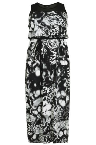 Black & White Butterfly Print Maxi Dress With Mesh Shoulder Panel